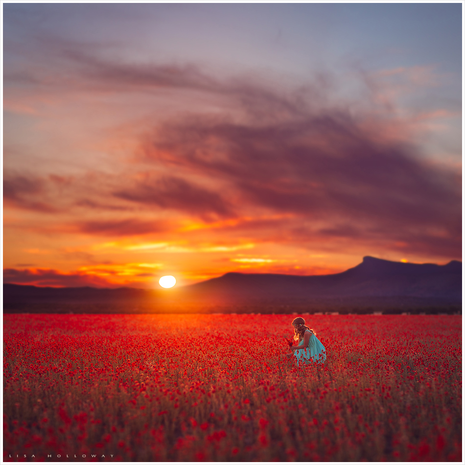 little girl in a blue dress picks orange wildflowers in a field at sunset outside near las vegas nevada