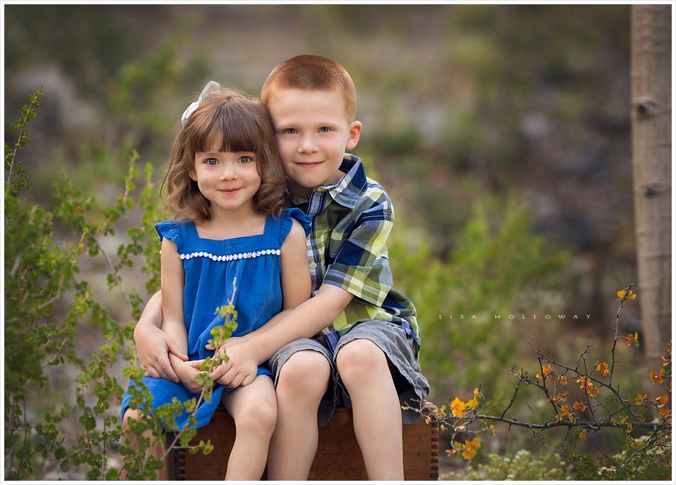 Portrait of a little girl and little boy outdoors on mt charleston near las vegas