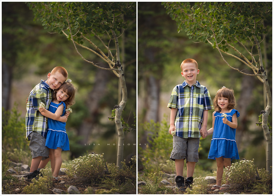 Portrait of a brother and sister standing outside in the forest on mt charleston near ljholloway photography specializes in maternity newborn