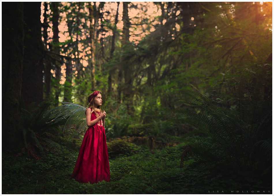 Little fairy dressed in a red dresses watches the setting golden sun in the Olympic rain forest.