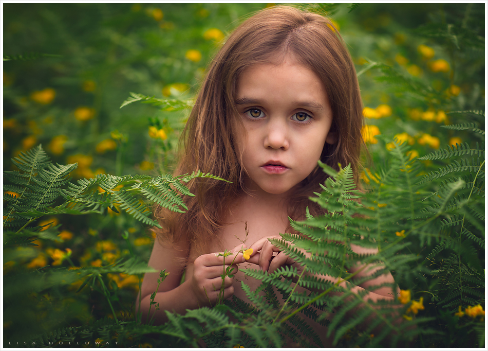 Little boy with long hair standing in green ferns and yellow flowers. LJHolloway Photography is a Las Vegas Child Photographer.