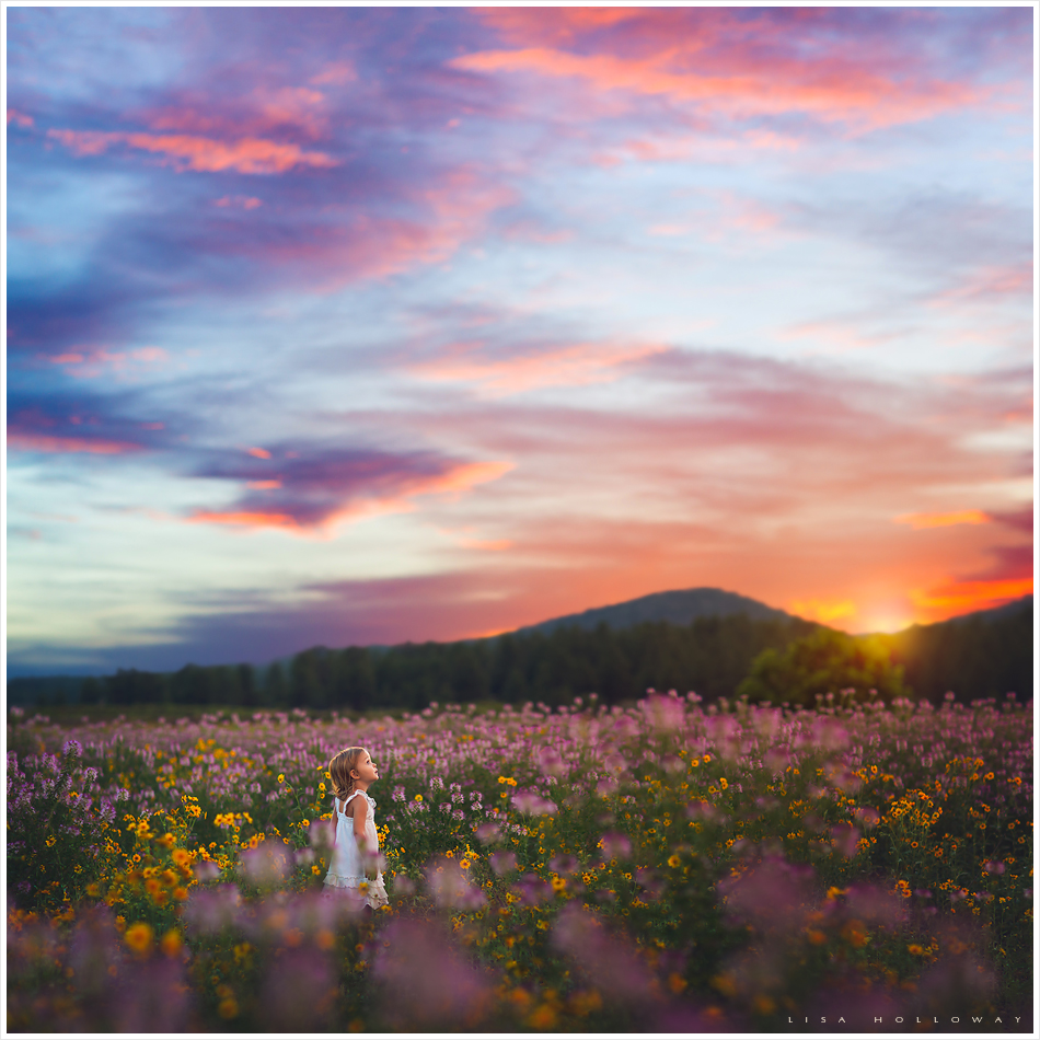 a cute little girl stands in a huge field of wildflowers at sunset during a photo session near las vegas nevada