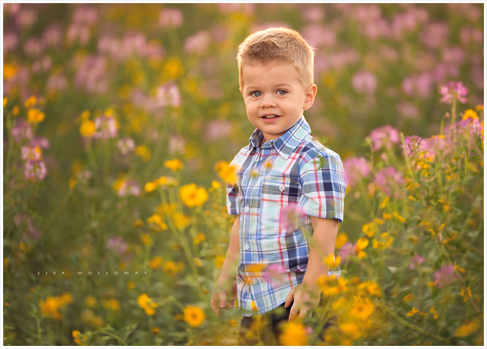 portrait of a cute little boy with blonde hair and blue eyes outside in a field of wildflowers near williams arizona