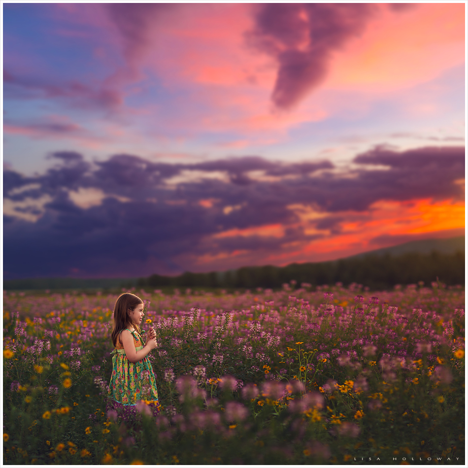 little girl stands in a field of beautiful wildflowers at sunset near Las Vegas Nevada