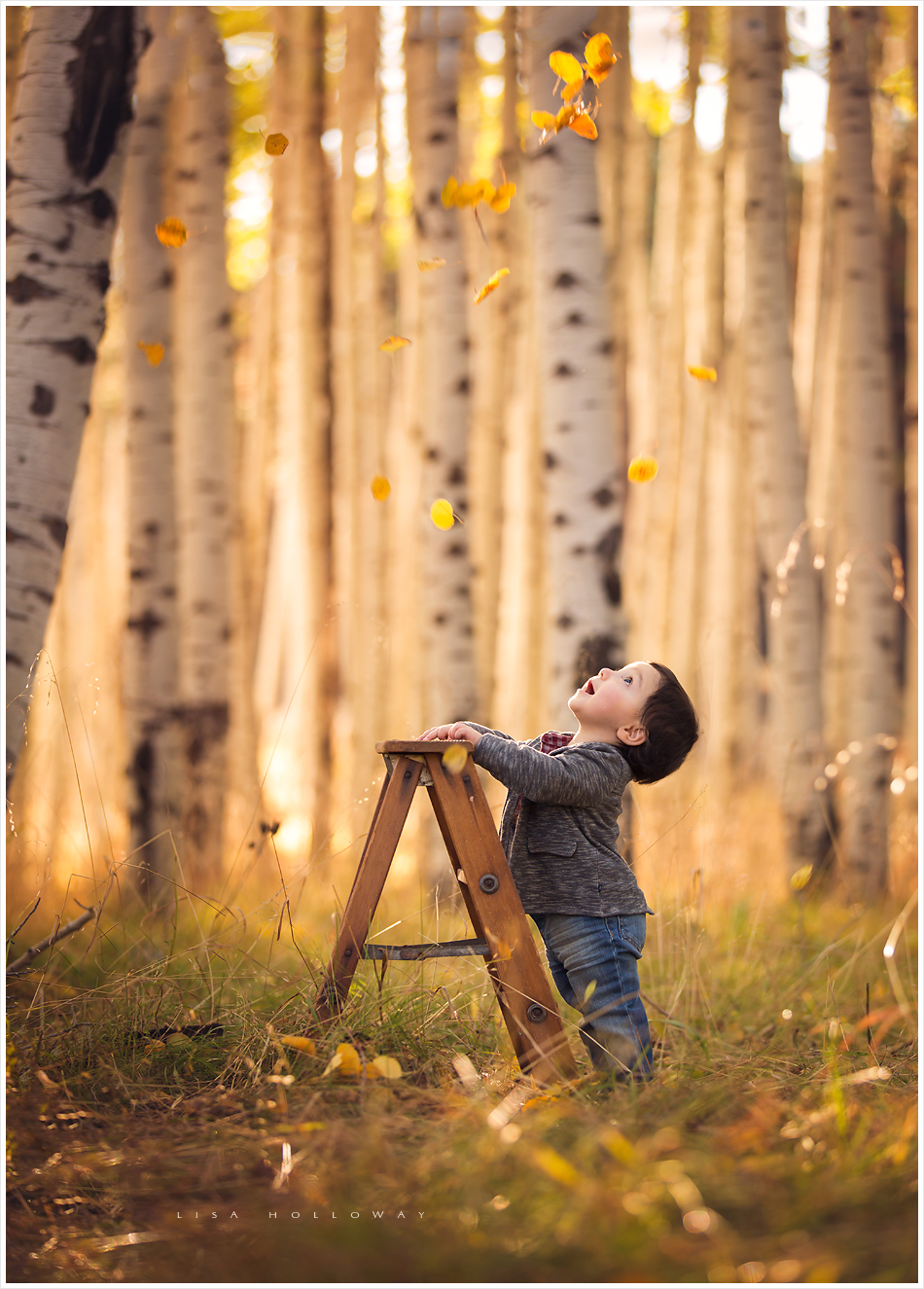 An adorable baby boy has his fall portraits taken outdoors in an aspen grove near Las Vegas by LJHolloway Photography.