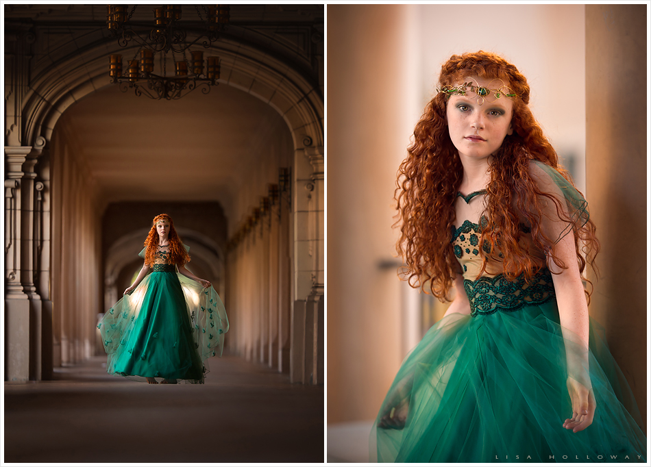 Beautiful redheaded girl has her portrait taken in San Diego's Balboa park in a stunning emerald green princess dress.
