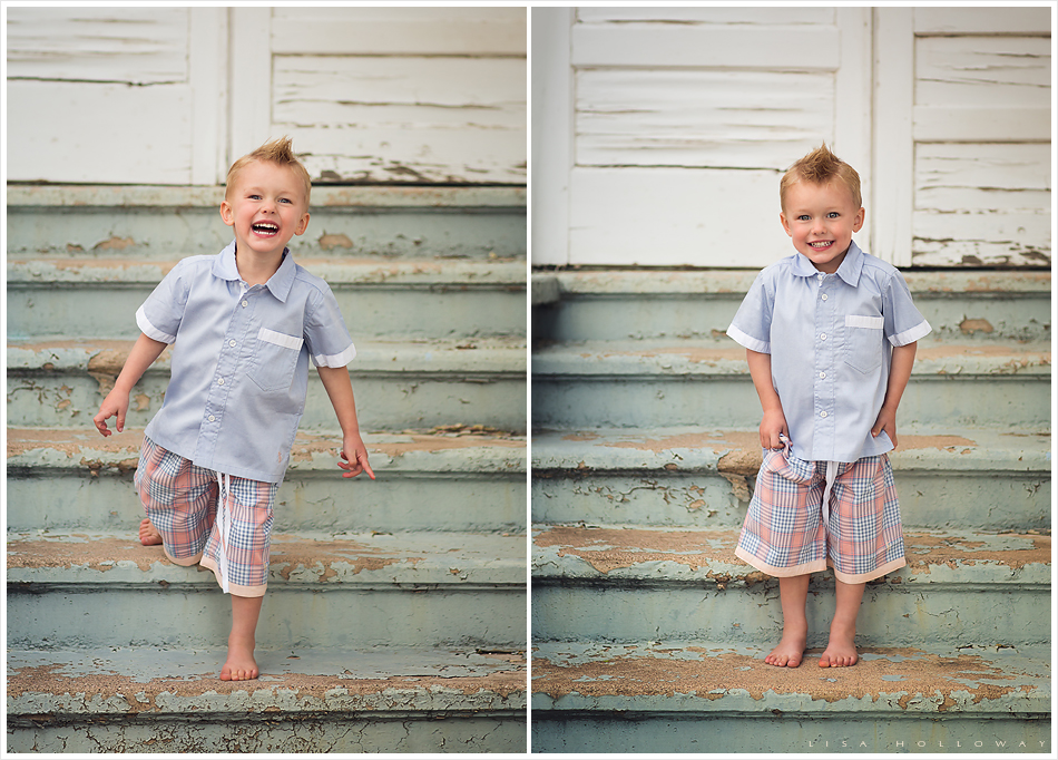 A cute blonde little boy wearing the chambray and peach Well Dressed Wolf outfit poses on stairs with mint green peeling paint. LJHolloway Photography is a Las Vegas Child Photographer.